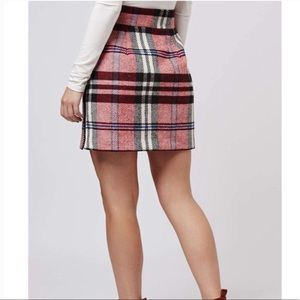 TOPSHOP Plaid Tartan High Waist Mini Skirt Zipper